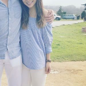 Zara off shoulder blue white striped XS